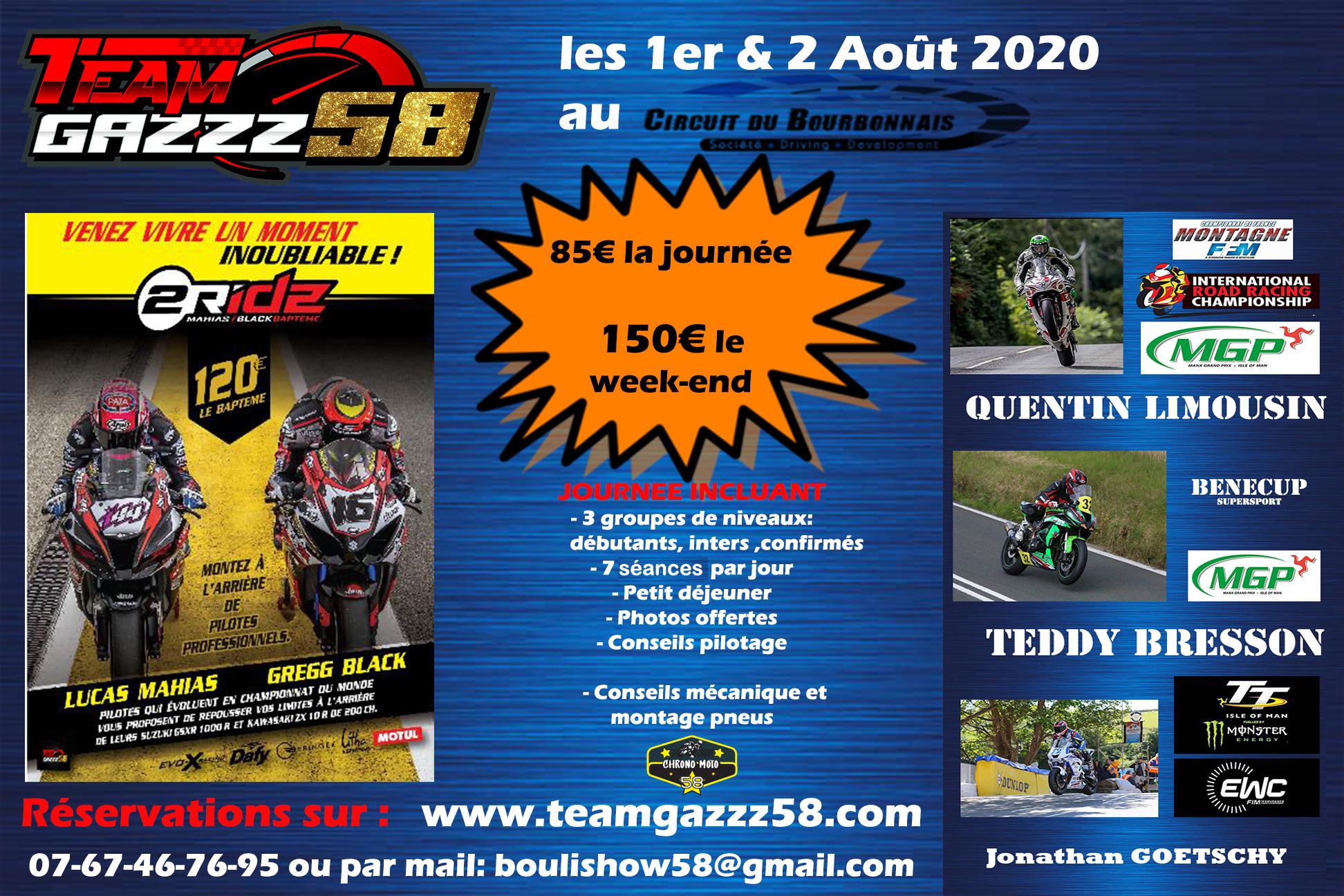 Journée Roulage Team Gazzz 58 1&2 Août 2020 au Bourbonnais